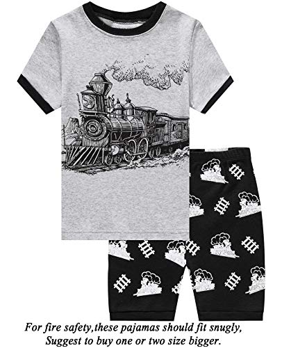 Dolphin&Fish Boys Pajamas 100% Cotton Train Summer Short Set Toddler Clothes Kids Pjs Sleepwear 5t -