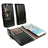 Personalised Alston Craig Vintage Genuine Leather Wallet Case Cover for Apple iPhone 7 Plus- Black