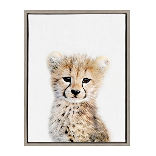 (Kate and Laurel Sylvie Cheetah Framed Canvas Wall Art by Amy Peterson, 18x24, Gray)