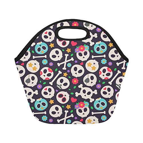 Insulated Neoprene Lunch Bag Skull Set Flat Design Large Size Reusable Thermal Thick Lunch Tote Bags For Lunch Boxes For Outdoors,work, Office, School ()