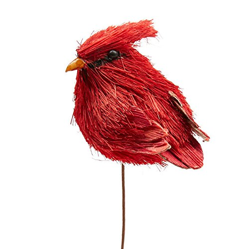 Factory Direct Craft Red Sisal Cardinal Birds with Attached Bendable Pick for Indoor Decor - 2 Cardinals
