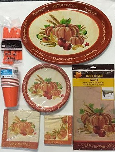 Thanksgiving-Fall-Autumn-Harvest-Pumpkin-Party-Packages-Includes-Oval-Plastic-Serving-Tray-Lunchon-Napkins-Beverage-Napkins-Dinner-Plates-Table-Cloth-and-Cutlery-Set-for-8-Guests-68-CT