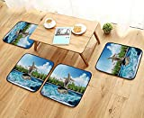 Printsonne Comfortable Chair Cushions Naked Turtle Left itsShell Surfing its Home The Ocean Sunny ACH Reuse can be Cleaned W17.5 x L17.5/4PCS Set