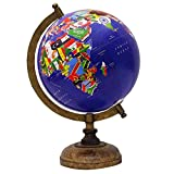 Decorative Rotating Blue Ocean Globe World Country Flags Table Decor 13''
