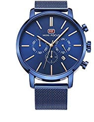 Unique Novel Trendy Blue Design Watches For Men With Blue Steel Mesh Band And Three Sub Dials Multifunction Date...
