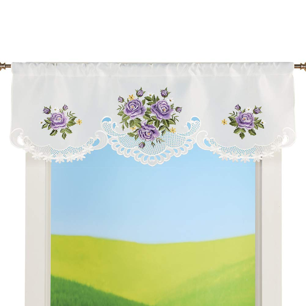 Collections Etc Charming Purple Roses Cutout Embroidered Window Valance - Cute Home Decor Accessories