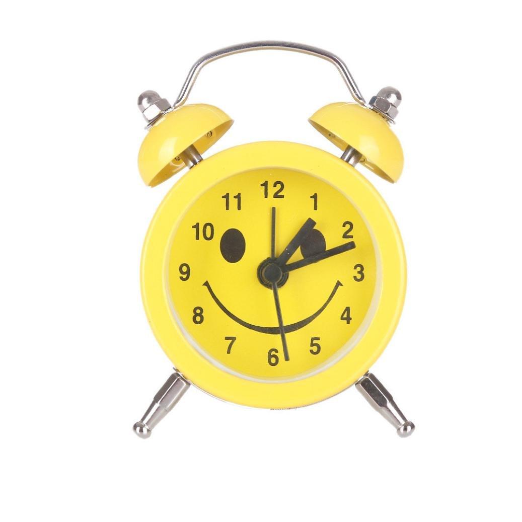 Alarm Clock for Student, Liu Nian Emoji Emoticon Twin Bell Air Kiss Slient Alloy Stainless Metal Analog Quartz Digital Alarm Clock for Bedroom Living Room Decoration Desk (Yellow B)
