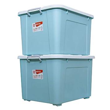 Hyvaluable Cajas de Almacenamiento de plástico Grandes con Tapa y Ruedas, Ideal de Containe apilable