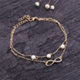Best Foot Chains For Female Fashions - Women Fashion 8 Charm Pearl Double Chain Anklet Review