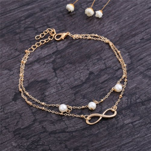 Women Fashion 8 Charm Pearl Double Chain Anklet Foot Jewelry Gold Ankle (Fashion Feet)
