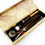 GC QUILL MU-03 Quill Pen Set Unique Half-Patterned Feather Pen Gift Set with 6 Nibs 1 Bottle of Ink 1 Wax Seal Stamp 1 Pen Holder 1 Sealing Wax, Gift for Writers Harry Potter Fans