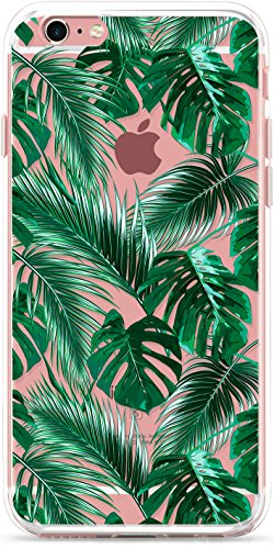 iPhone 6S Plus Case, iPhone 6 Plus Phone Cover,ROOEL [Tropical Palm Leaves Artwork Pattern] Slim Soft Protective TPU Bumper Frame Hard Clear Transparent Acrylic PC Plastic Back