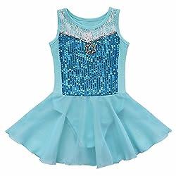 iEFiEL Girls Sequin Dress Chiffon Tutu Ballet Leotard Dressing up Blue 3