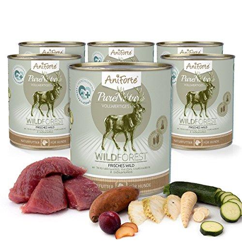 AniForte® PureNature Nassfutter 800g Wild Forest Hundefutter- Naturprodukt für Hunde (Frisches Wild, 6x800g)