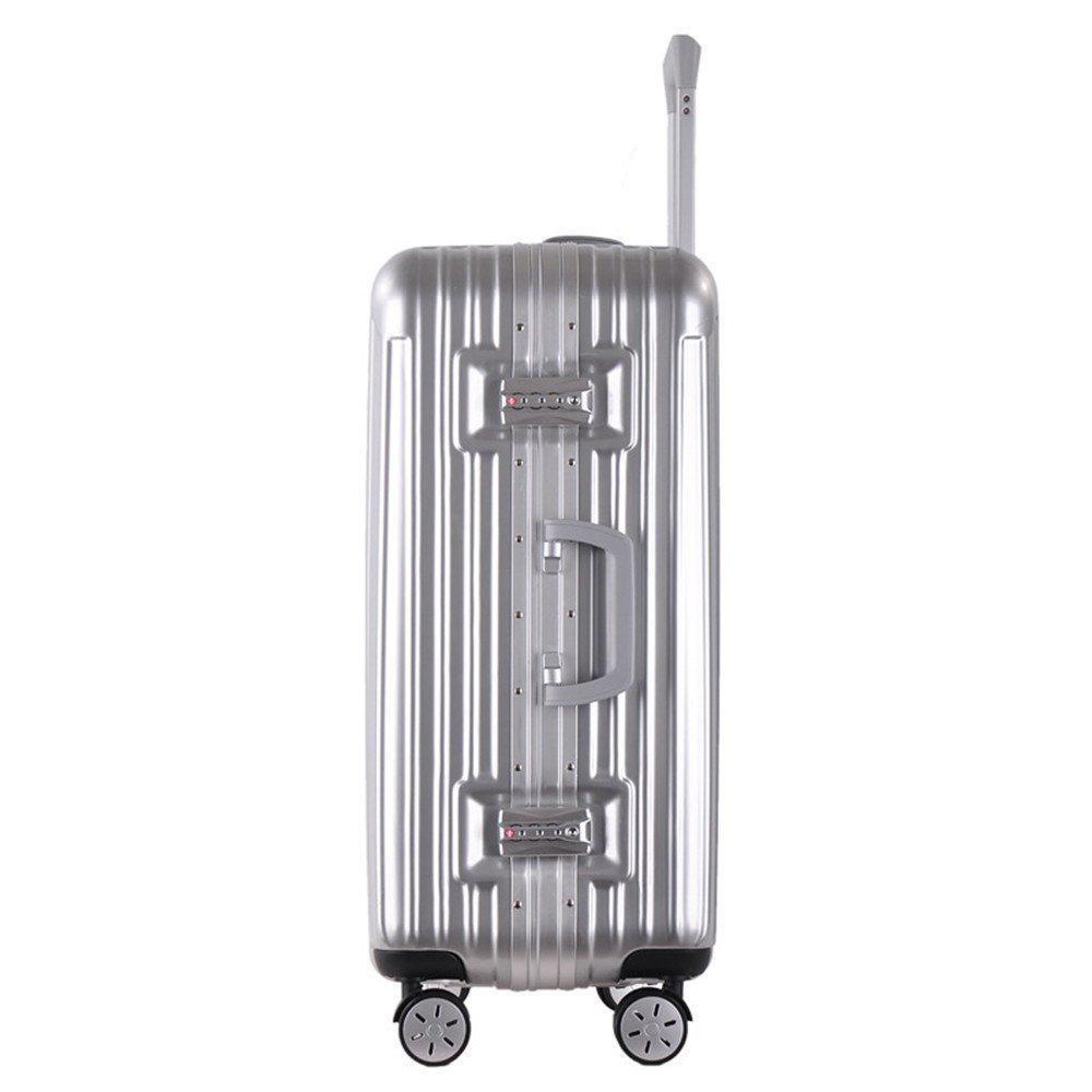 スーツケース プルロッドボックス20インチ引き出しアルミフレームプルロッドボックス。旅行および搭乗のためのABS棒箱の普遍的な車輪のプル棒箱、 (色 : 銀) B07V82CK42 銀