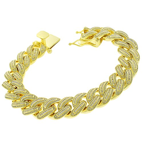 .925 Sterling Silver 16mm Miami Cuban Curb Link CZ Baguette Iced Out Bling Bracelet Chain Yellow Gold Plated 8.75'' by In Style Designz