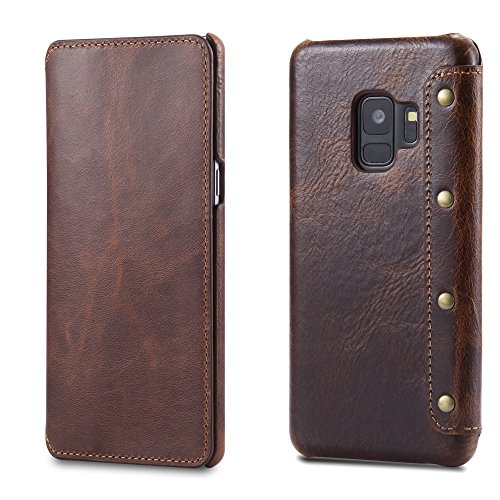 Galaxy S9 Case, Reginn Waxed Leather Wallet Case with [Card Slot] [Cash Pocket] and [Stand Function] [Wireless Charging Compatible] Folio Cover for Samsung Galaxy S9 (Brown) by Reginn