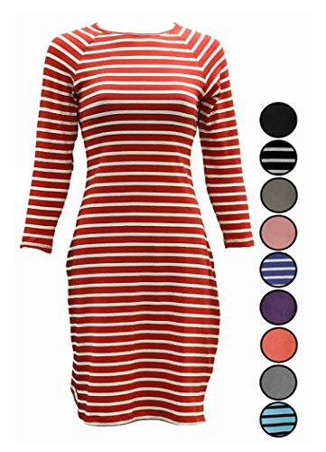 Comfy Cotton Crew Neck T-Shirt Dress with 3/4-Sleeves for Junior/Misses/Teen (Small, Red & White (White Dress For Teenager)