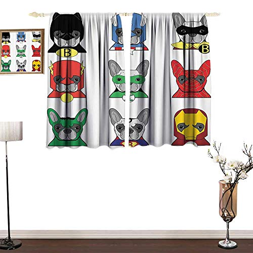(SuperheroBlackout curtainBulldog Superheroes Fun Cartoon Puppies in Disguise Costume Dogs with Masks ArtprintMildew-Proof Polyester Fabric W72 xL72 Multicolor)