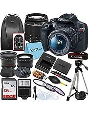 Canon EOS Rebel T7 Dgital SLR Camera with EF-S 18-55mm Zoom Lens + SanDisk 128GB Memory Card + Tripod + Case + Wideangle Lenses + ZeeTech Accessory Bundle (20pc Bundle)