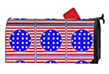 FANMIL Magnetic Mailbox Cover - Blue Red Flags Themed, Decorative Mailbox Wrap for Standard Size, Customized Design ¨C Multicolor, 9x21 inches