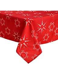 deconovo christmas table cloth printed star oxford waterproof wrinkle stain resistant square tablecloth for dining tables - Square Christmas Tablecloth