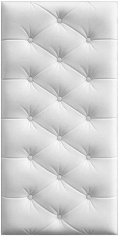 """Gyrategirl 3D Wall Panels Peel and Stick Wallpaper Home Background Decor Wall Stickers for Bedroom/Living Room, Self-Adhesive Waterproof Anti-Collision Soft Wall Mat, 23.62""""x11.81""""/1.94 sq.ft (White)"""
