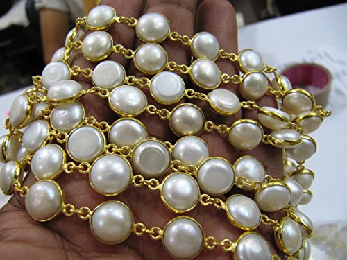 1 Feet Fresh Water Pearl Tiff Chain, Bezel Chain Sea Pearl 10-11mm Coin shape. Pearl Connector Chain, link Chain sold in Spools per FOOT New Year & Christmas sale