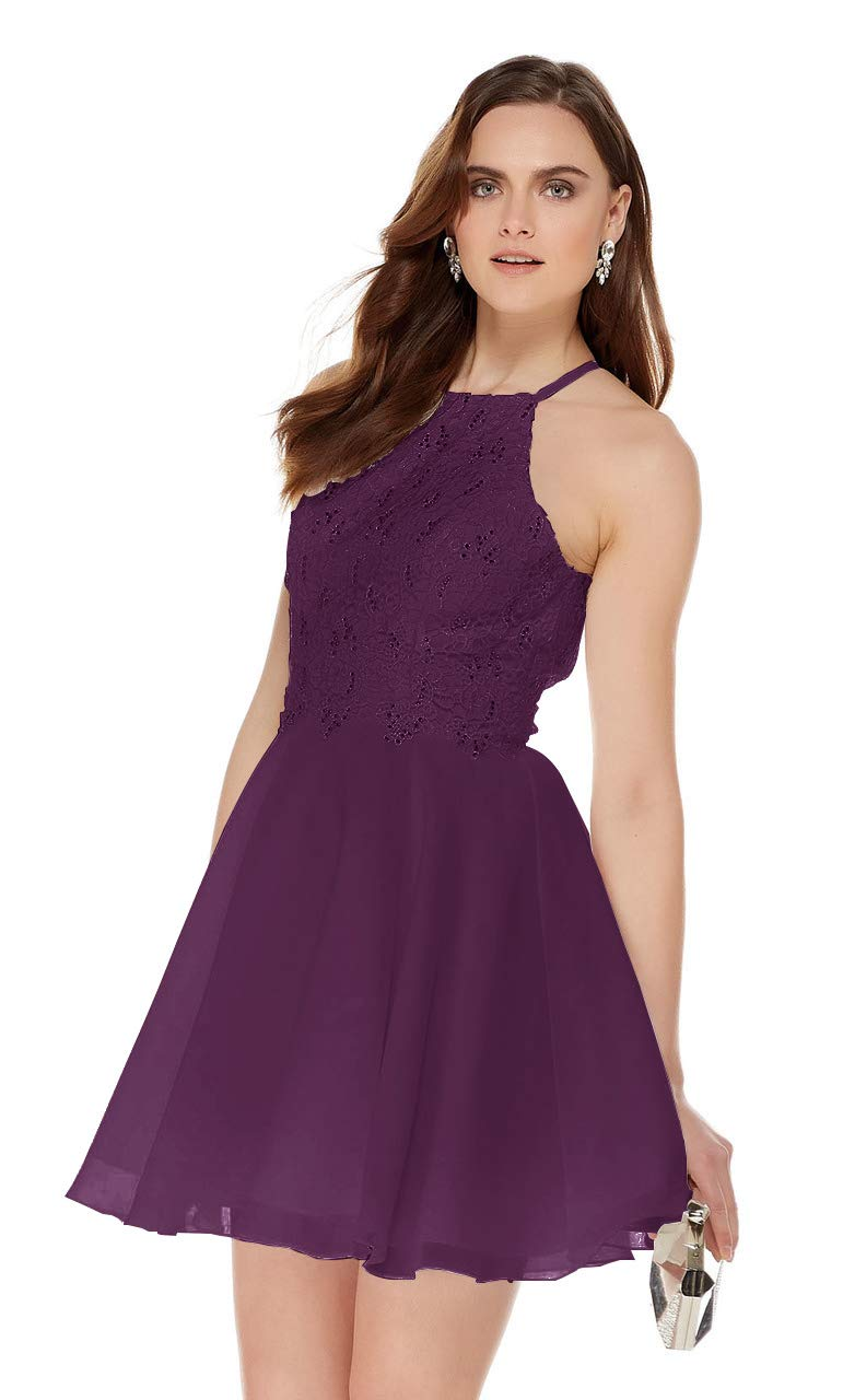 f63ea189de575 Women's Halter Beaded Lace Short Prom Dress Open Back Chiffon Homecoming  Party Gown Plum Size 2