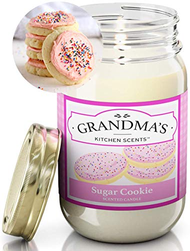 Sugar Cookie Scented Candles for Home | Non Toxic Long Lasting Soy Candles | Delicious Scent | Large 16 oz Mason Jar | Hand Made in The USA