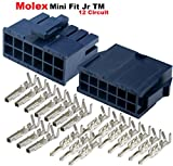 Molex 12-Pin Black Connector Pitch 4.20mm.0165'' w/18-24 AWG Pin Mini-Fit Jr