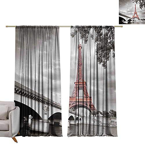 (Paris City Decor Drapes for Living Room Eiffel Tower Bridge Capital City Cloudscape Monochrome Selective Colorization Picture Print Privacy Protection W120 x L96)