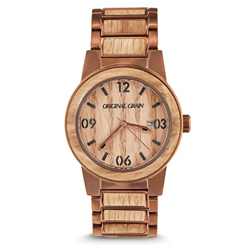 Original Grain Whiskey Barrel Wood Watch - Barrel Collection Analog Wrist Watch - Japanese Quartz Movement - Wood and Stainless Steel - Water Resistant - American Oak Wood Watches for Men - 42MM