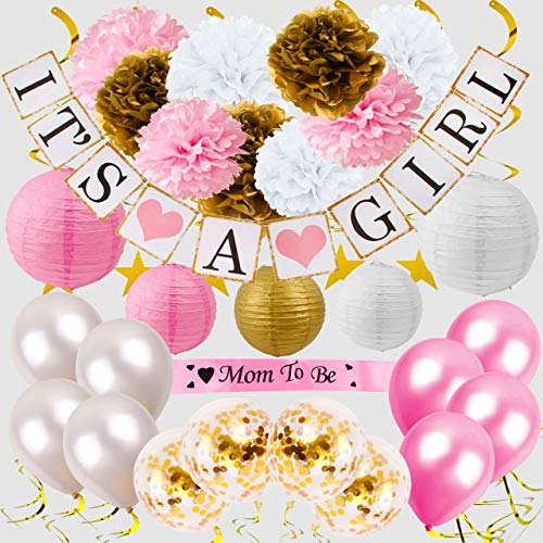 Premium Girl Baby Shower Decorations for Girl Set. Quick & Easy to Set up. Perfect for Baby Shower Favors, Gifts, Games I Balloons, Paper Lanterns, Paper Flower Pom Poms, Its a Girl Banner. Sash. -