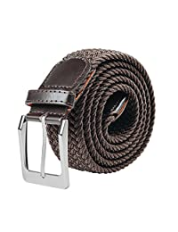 Braided Elastic Fabric Stretch Belt Leather End and Silver Metal Buckle S-XXL (Medium, Brown)