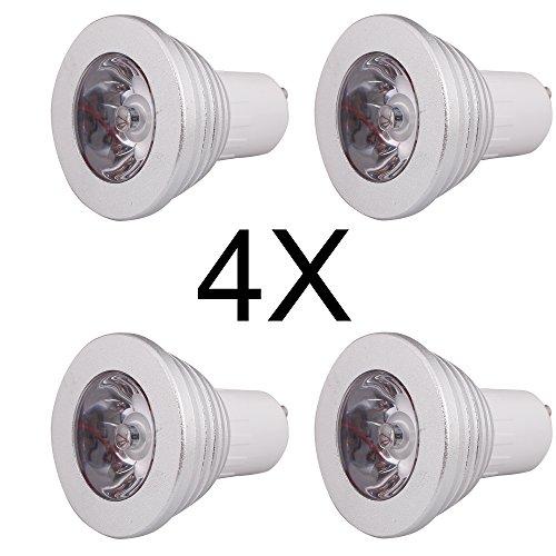 ELINKUME - 4X GU10 Ampoule Lampe 3W RGB LED Bulb 16 Couleurs Changement 150-180LM avec Télécommande à Boutons AC95-240V
