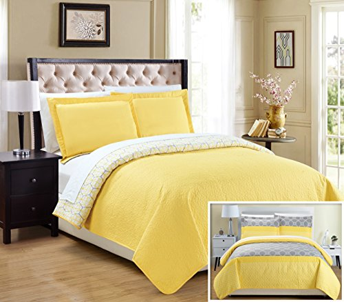 Chic Home 2 Piece Lori Geometric Modern Design Printed Quilt Set, Twin, Yellow (Quilt Geometric compare prices)