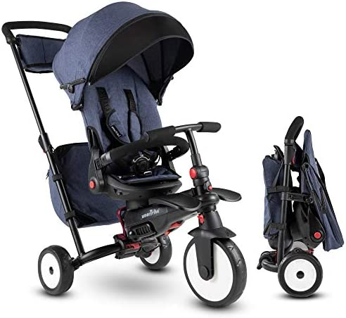 smarTrike STR7 Falt-Kleinkinder-Dreirad für 1,2,3 Jahre alt mit kostenloser, individueller Stickerei - 8 in 1 Mehrstufen-Dreirad (Blau)
