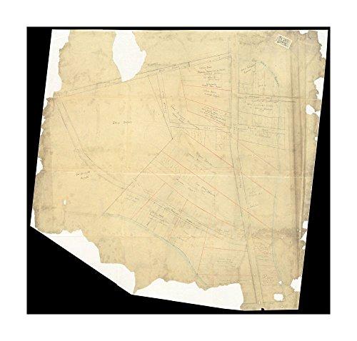 1915 Map Boston Plan of part of Boston bounded by Eliot, Washington, & Pleasant streets showing landownership in late 17th century Manuscript Map|Ready to Frame|Historic Antique Vintage - Map Street Washington Boston