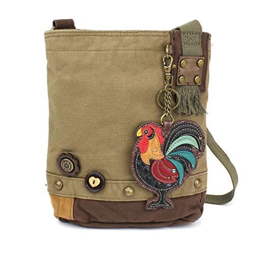 (Chala Patch Cross-Body Women Handbag, Olive Canvas Messenger Bag (Rooster Olive) ...)