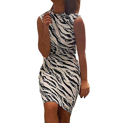YKARITIANNA Women's Ladies Sexy Stripe Print Sleeveless Mini Dress Summer Dress ()