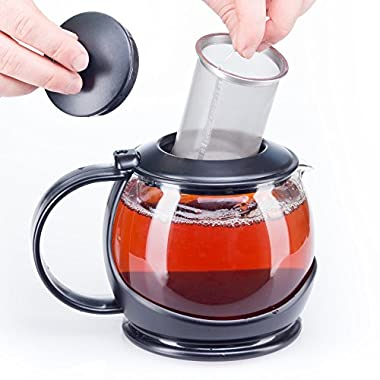 bobuCuisine Stunning Glass Teapot Globe with Cozy Warmer, 1200ml/40oz - Embellish Your Kitchen - No Spill - Large Enough for 4 to 5 Cups of Tea - Rust Free Mesh Infuser