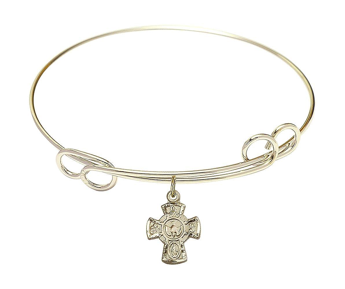 DiamondJewelryNY Double Loop Bangle Bracelet with a 5-Way Charm.