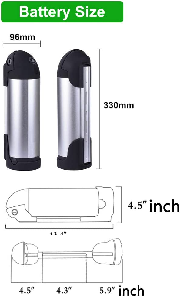 Wallenpower Ebike Battery 36V 10AH Water Bottle Battery Kettle Electric Lithium Battery with 42V 2A Charger Battery Level Light 20A BMS Protection Board for 500W Motor Silver