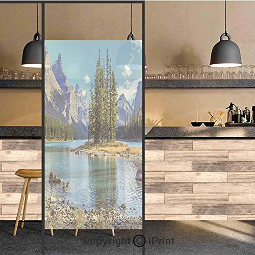 3D Decorative Privacy Window Films,Scenery of Spirit Island in Maligne Lake Canada in a Summer Time Covered With High Mountains,No-Glue Self Static Cling Glass film for Home Bedroom Bathroom Kitchen O -