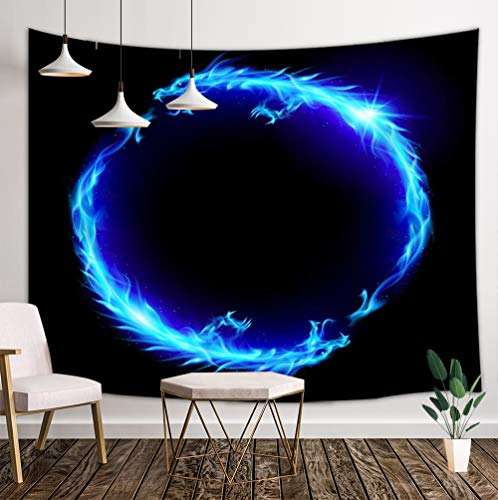 JAWO Blue Chinese Dragons Tapestry, Tai Chi Yin Yang Chinese Dragons on Black Background Wall Hanging, Wall Tapestry for Dorm Living Room Bedroom, Picnic Blanket Beach Towels Tapestry Home Decor
