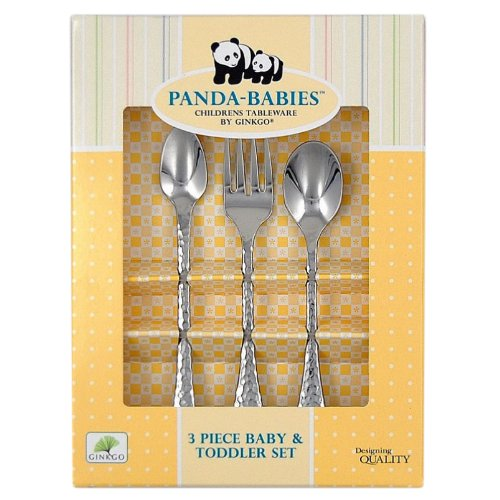 Ginkgo International Panda-Babies 3-Piece Baby & Toddler Stainless Steel Flatware - Panda Steel