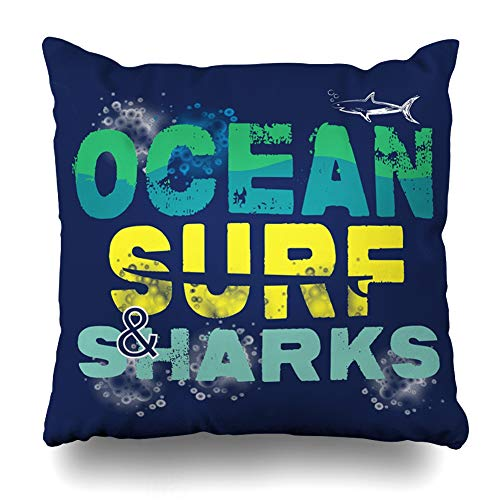 Ahawoso Throw Pillow Cover Square 20x20 Inch Surfer Retro Isolated Ocean Surf Printing Symbol Theme Fish Design Shirt Ecology Miscellaneous Decorative Zippered Pillowcase Home Decor Cushion Case