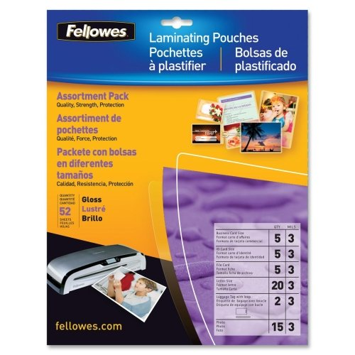 Wholesale CASE of 10 - Fellowes Assorted Laminator Pouches-Laminator Pouches ,Starter Pk,3mil., 52/PK,Asstd Sizes,Clear