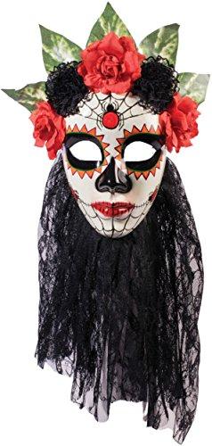 Forum Novelties Women's Day Of The Dead Senora Lace Mask, Black, One Size -